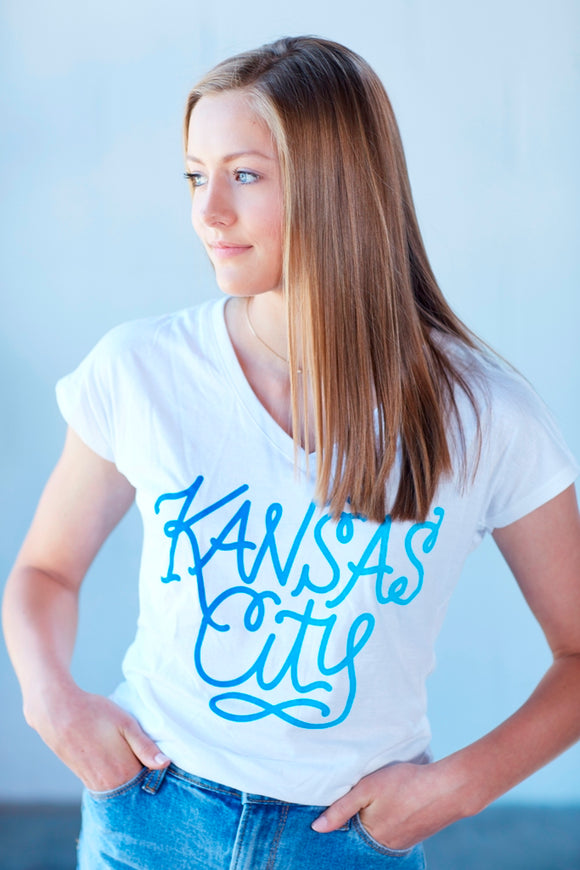 Kansas City Script Women's V-Neck - Royal Ombre