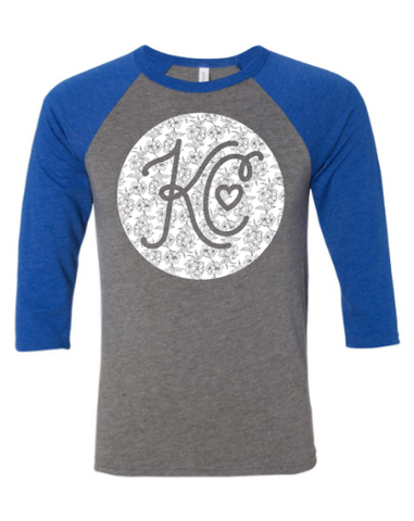 KC Vintage Floral Raglan - Royal Blue/Grey