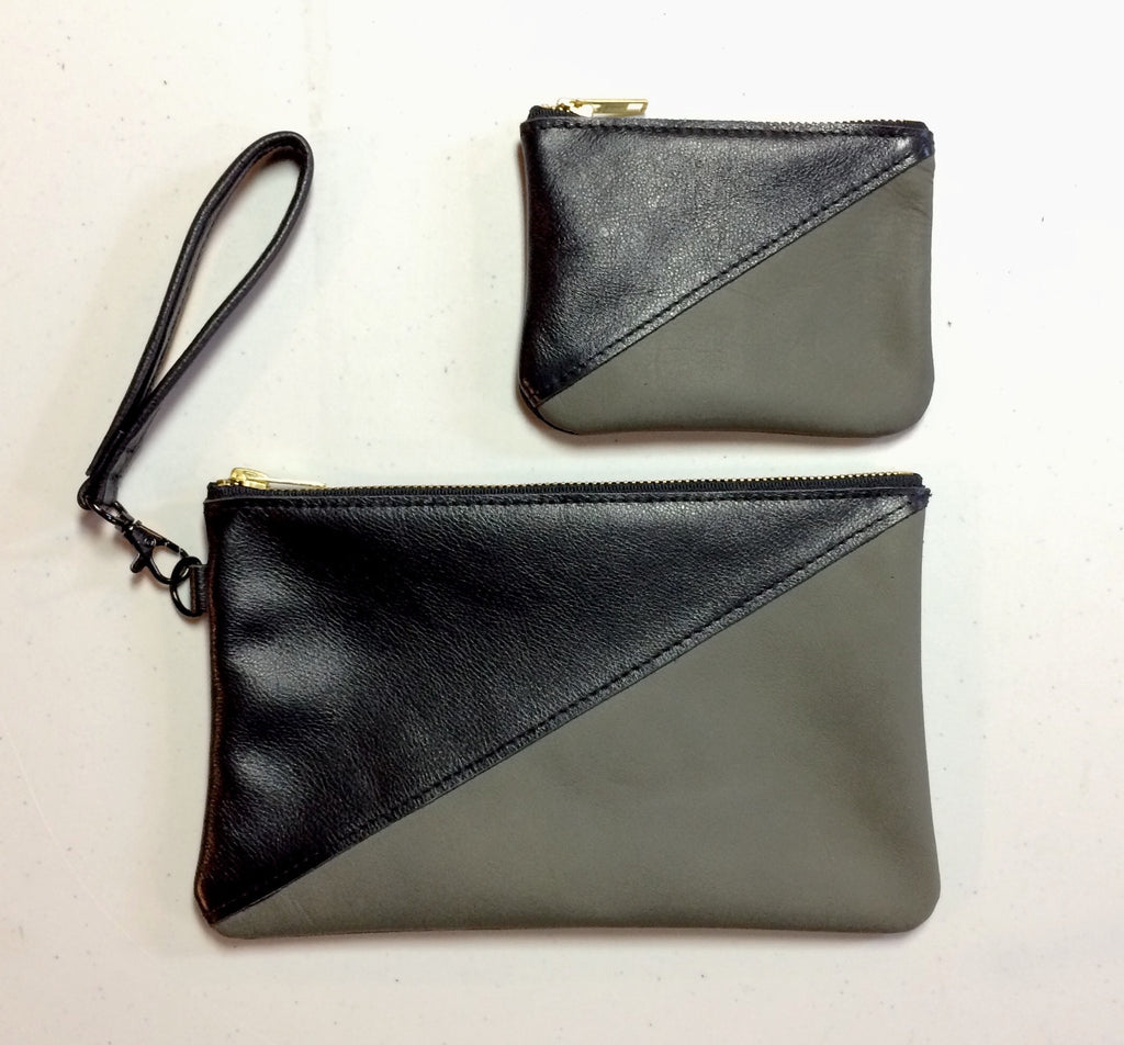 Olive Grey Clutch with matching coin purse