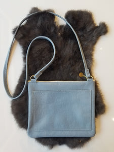 Small Leather Crossbody with Front Pocket - Powdered Blue