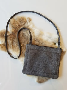 Small Leather Crossbody with Front Pocket - Silver Fur