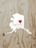 Large AK Red Heart Home Vinyl Sticker - Fairbanks/Interior