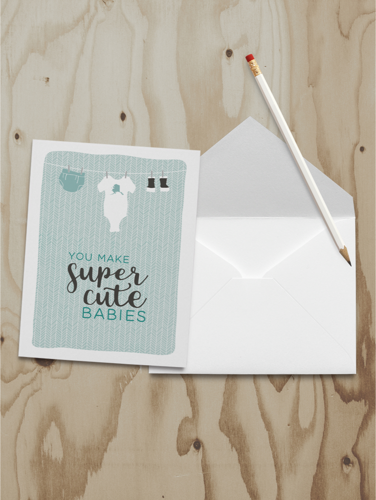 Super Cute Babies Note Card (A2)