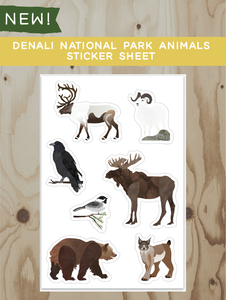 Denali National Park Animals Sticker Sheet