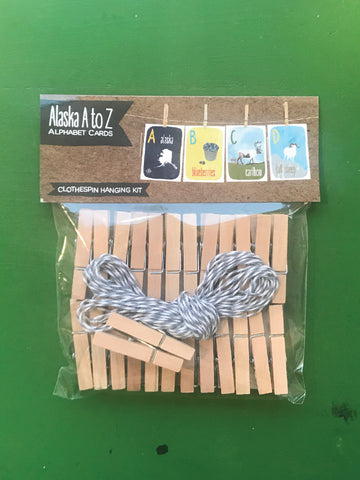 Clothespin Hanging Kit for Alphabet Cards