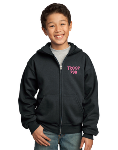 "Girl Scouts Troop 798 ""Goes Places"" Design Full-Zip Hooded Sweatshirt (Black)"