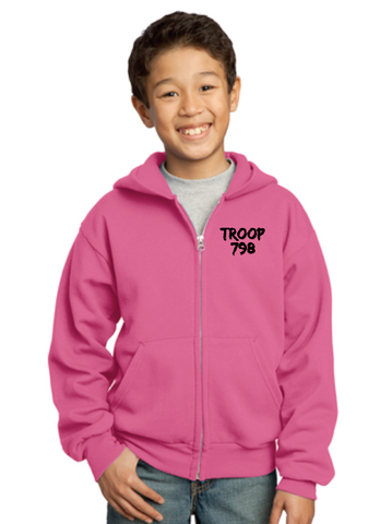 "Girl Scouts Troop 798 ""Goes Places"" Design Full-Zip Hooded Sweatshirt (Pink)"