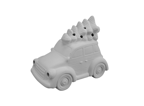 Lighted Station Wagon with Tree: Ceramics