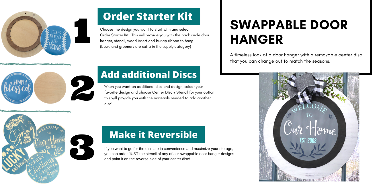 We Wish You A: Swappable Round Door Hanger Insert