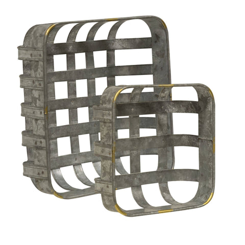 2/Set Washed Galvanized Metal Baskets