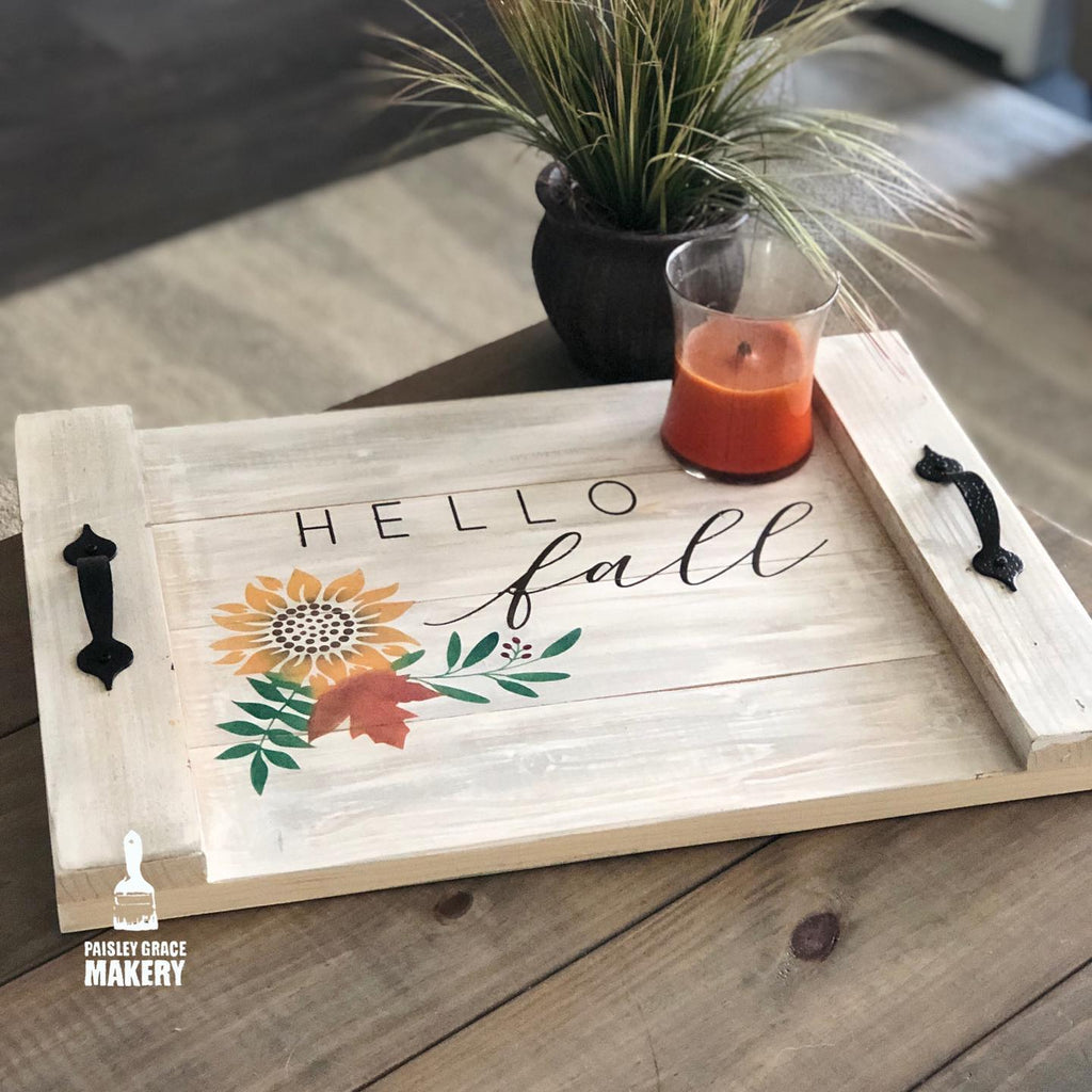 Hello Fall with Florals: FARMHOUSE TRAY DESIGN - Paisley Grace Designs