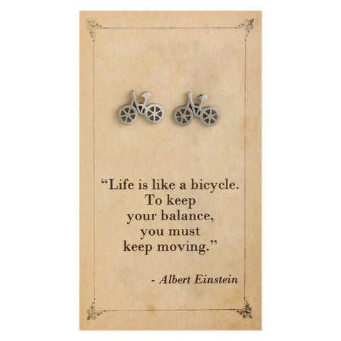 Literary Quotes Bicycle Post Earrings
