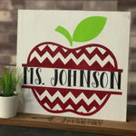 Apple with Name: Square Design - Paisley Grace Designs