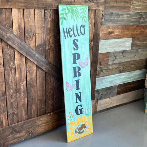 Hello Spring with Sunflower and Butterflies: PLANK DESIGN