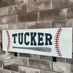 BASEBALL with NAME: PLANK DESIGN - Paisley Grace Designs