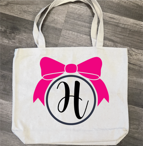Bow with Monogram: Canvas Bag/Pillow Design - Paisley Grace Designs