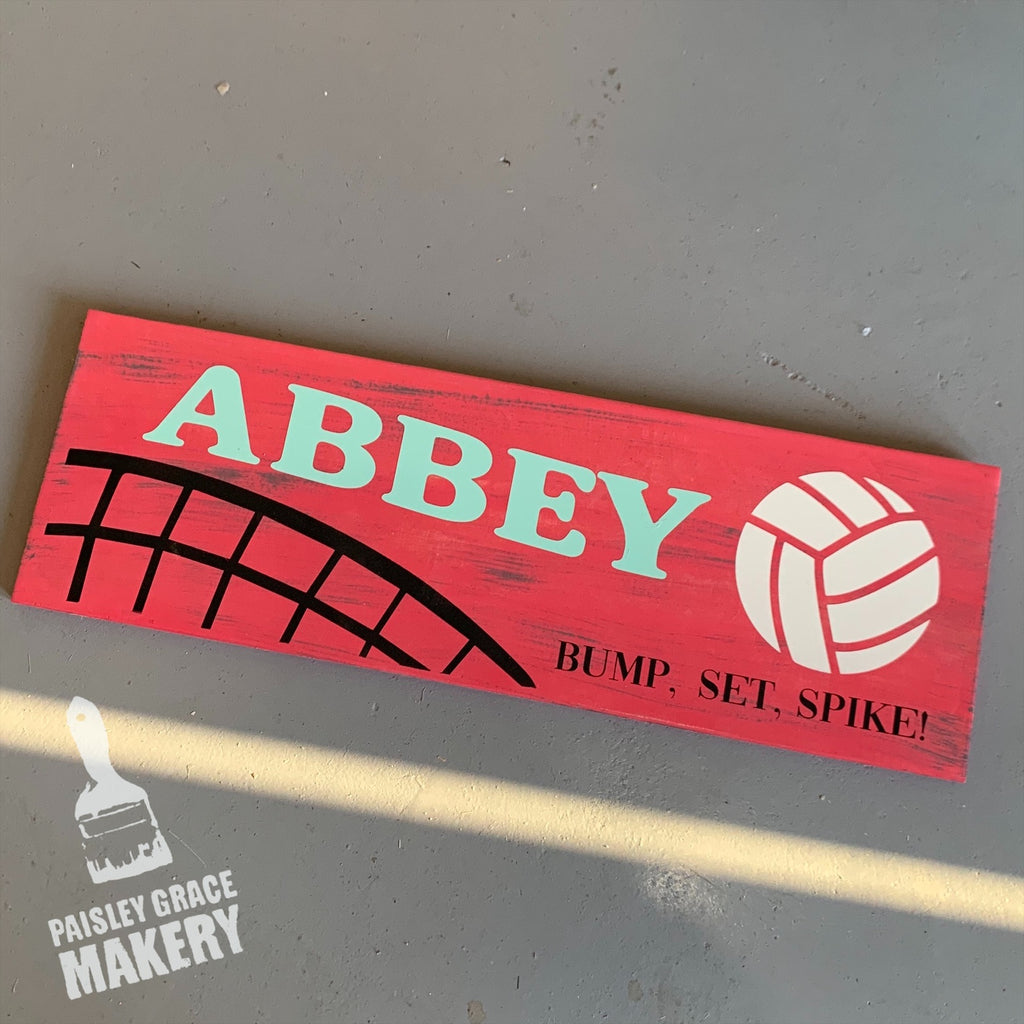 BUMP SET SPIKE VOLLEYBALL with NAME: PLANK DESIGN - Paisley Grace Designs