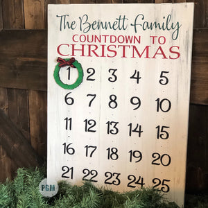 Countdown to Christmas Advent Calendar (Personalized): Signature Design - Paisley Grace Designs
