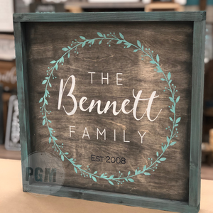 Family Name in Wreath: SQUARE DESIGN - Paisley Grace Designs