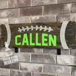 FOOTBALL with NAME: PLANK DESIGN - Paisley Grace Designs
