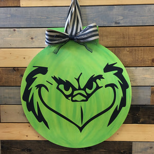 GRINCH FLAT TOP CIRCLE: DOOR HANGER DESIGN - Paisley Grace Designs