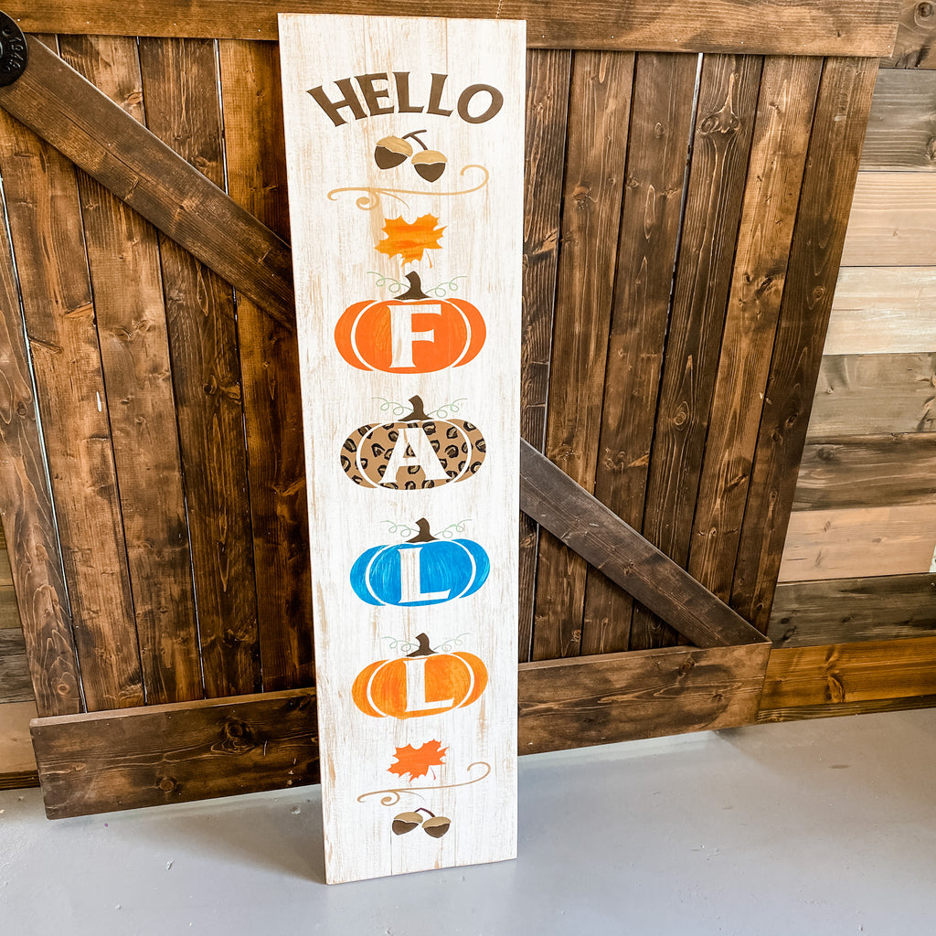 Hello Fall with Pumpkins Vertical: Plank Design