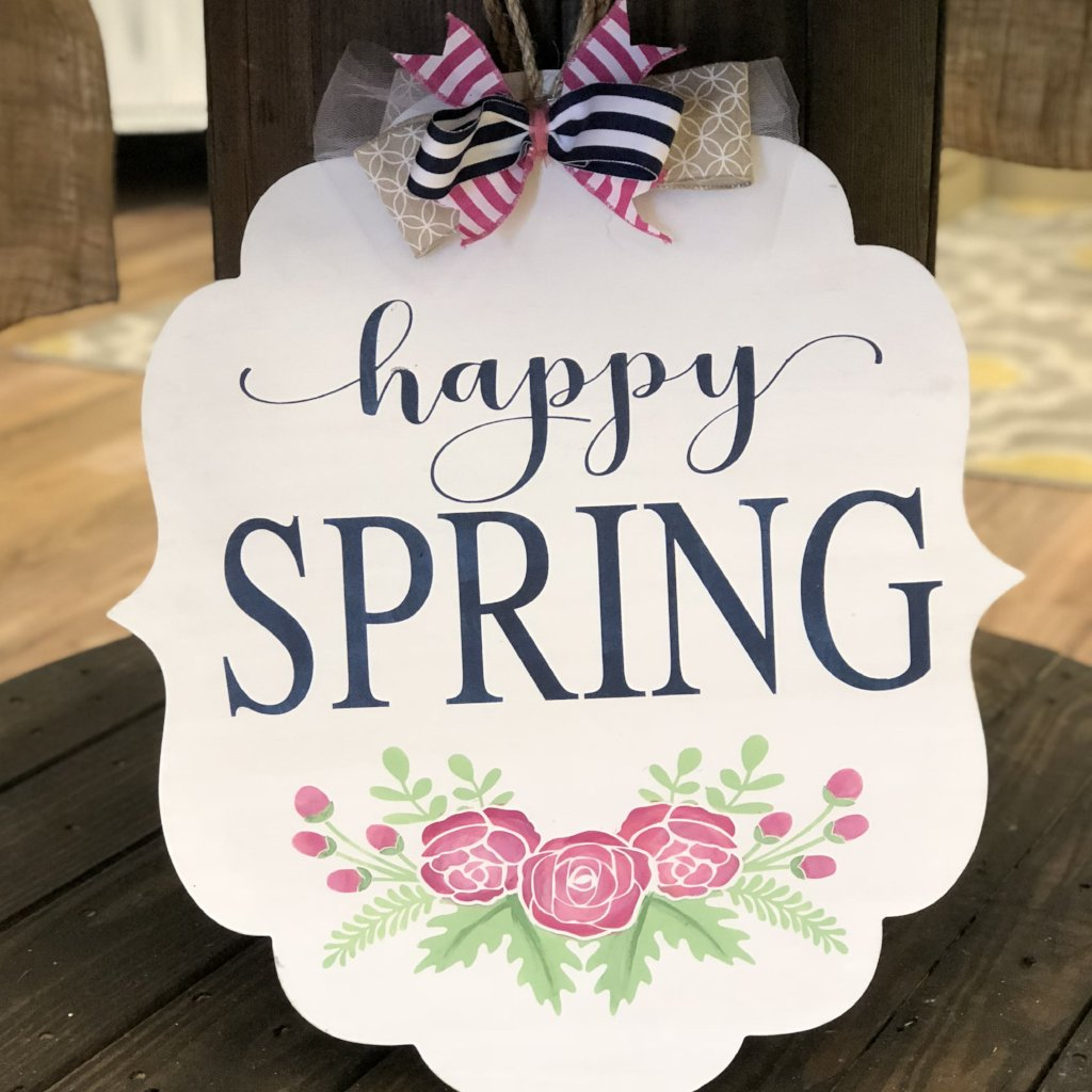 HAPPY SPRING w/ FLOWERS Flourish Bracket: DOOR HANGER DESIGN - Paisley Grace Designs