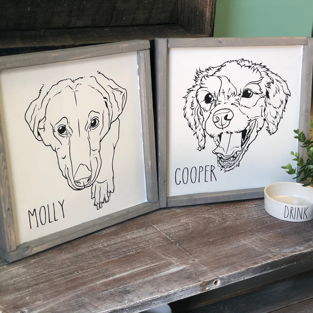 Pet Line Drawing Custom (Dog, Cat, etc). - Paisley Grace Designs