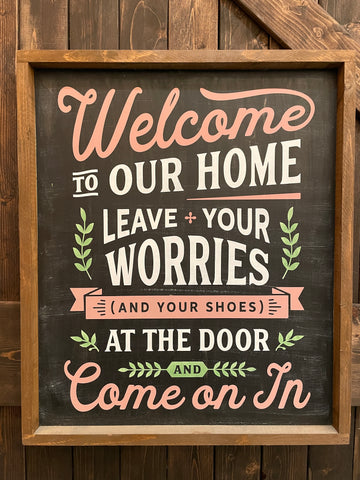#1461 Welcome to our Home 20x24 FRAMED PAINTED