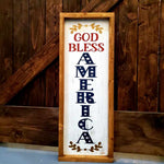 GOD BLESS AMERICA WITH LAUREL (VERTICAL): PLANK DESIGN - Paisley Grace Designs