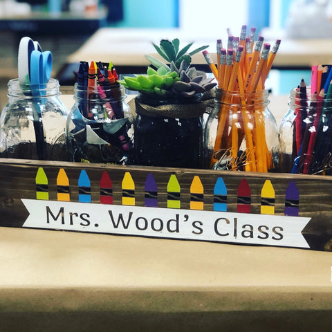 TEACHER NAME WITH CRAYONS: WOOD BOX - Paisley Grace Designs
