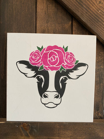 Cow with flowers (#1476): PREPAINTED SIGN