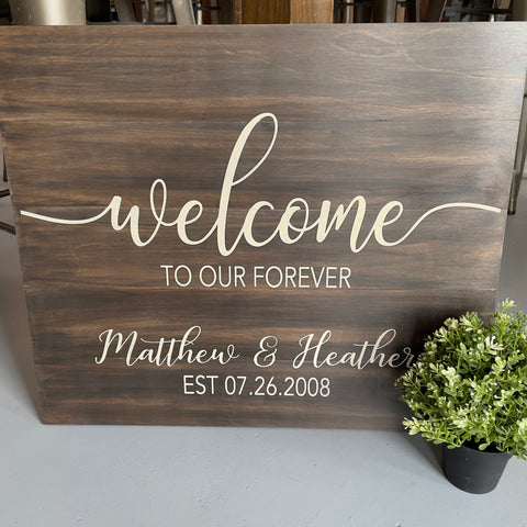 Welcome to our Forever (Personalized) Wedding Sign: SIGNATURE DESIGN
