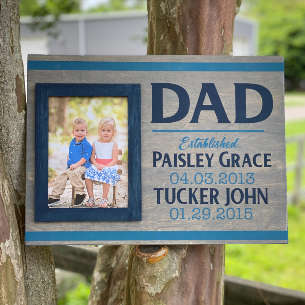 Dad Established Frame (Customize to any name): Photo Holder Board