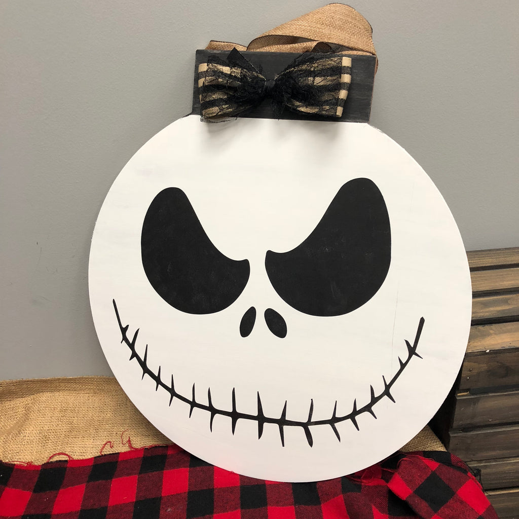 JACK-NIGHTMARE BEFORE CHRISTMAS (Flat Top Circle): DOOR HANGER DESIGN - Paisley Grace Designs