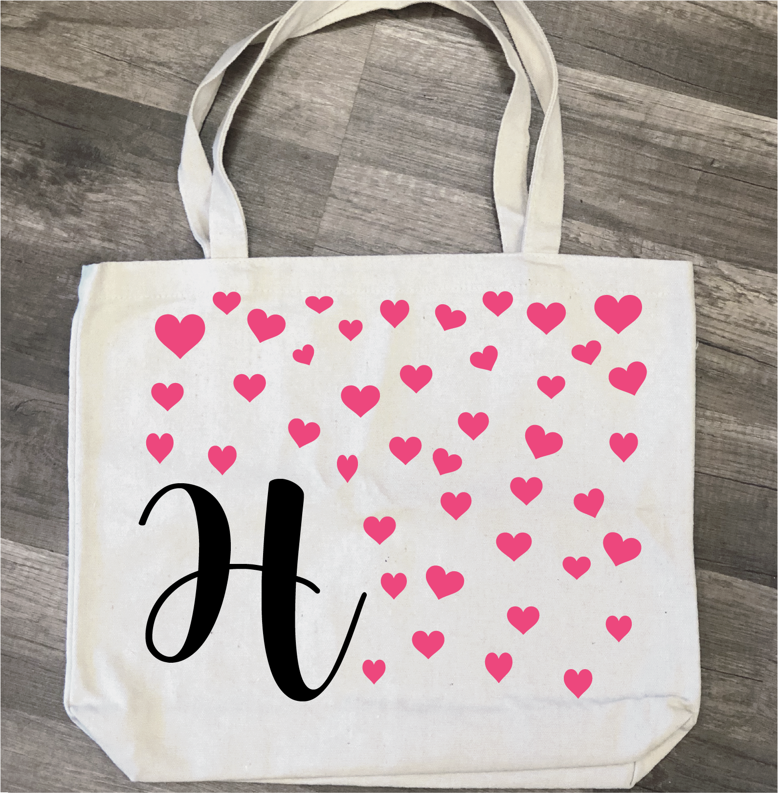 Initial with Hearts: Canvas Bag/Pillow Design - Paisley Grace Designs