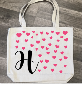 Initial with Hearts: Canvas Bag Design - Paisley Grace Designs