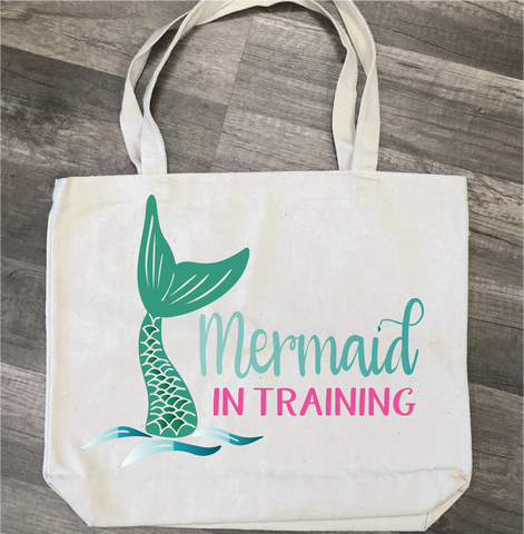 Mermaid in Training: Canvas Bag/Pillow Design - Paisley Grace Designs