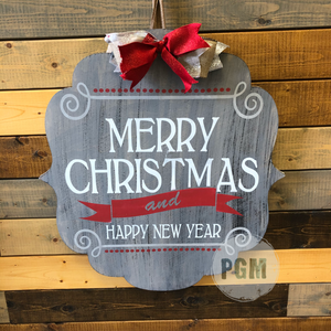 MERRY CHRISTMAS AND HAPPY NEW YEAR BRACKET: DOOR HANGER DESIGN - Paisley Grace Designs