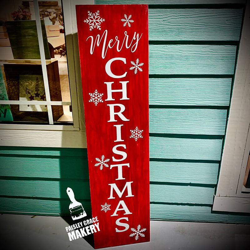 Merry Christmas with Snowflakes Vertical: PLANK DESIGN - Paisley Grace Designs