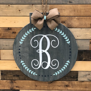 Monogram in Vine Circle (Flat Top Circle): DOOR HANGER DESIGN - Paisley Grace Designs
