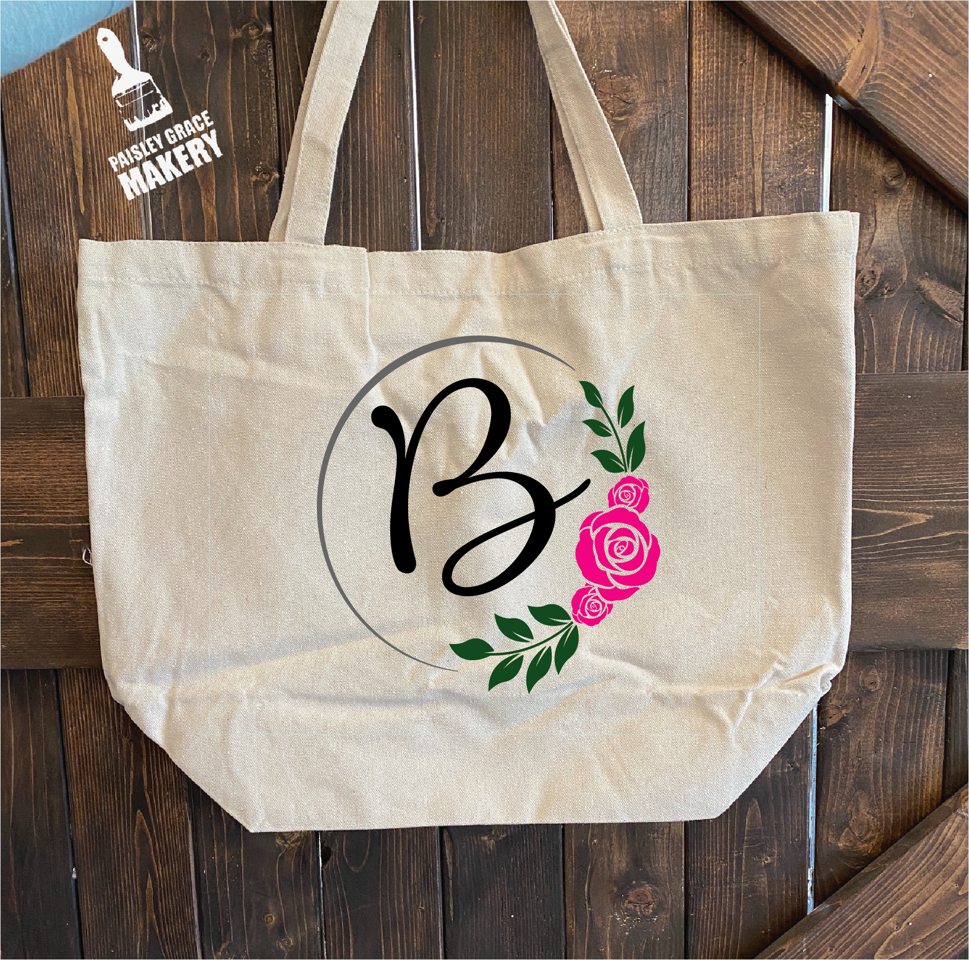 Monogram with Flowers: Canvas Bag - Paisley Grace Designs