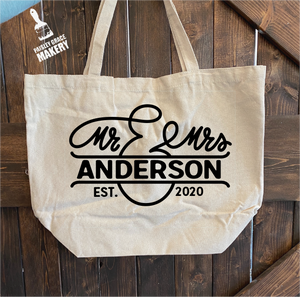 Mr & Mrs Personalized: Canvas Bag - Paisley Grace Designs