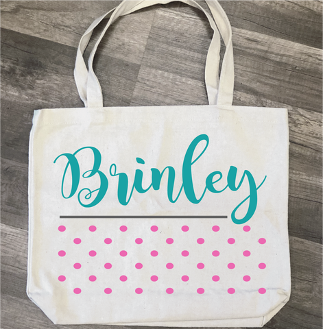 Name with Polka Dots: Canvas Bag/Pillow Design - Paisley Grace Designs