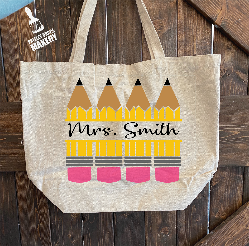 Pencil Split with Name: Canvas Bag - Paisley Grace Designs