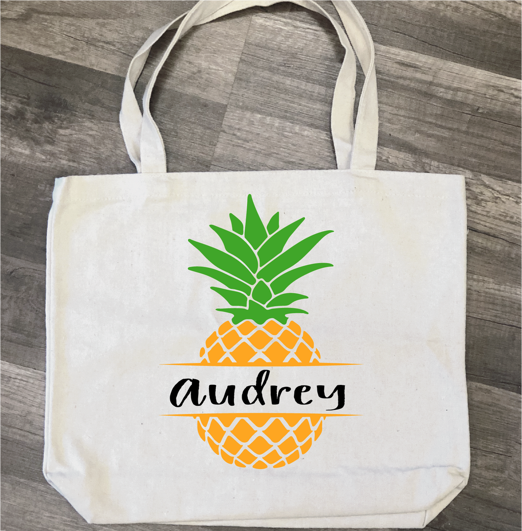 Pineapple with Name: Canvas Bag/Pillow Design - Paisley Grace Designs