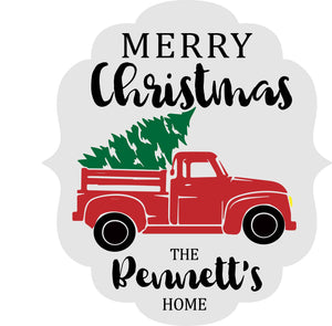 Red Truck Christmas Personalized: DOOR HANGER DESIGN - Paisley Grace Designs