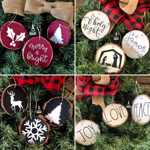 Rustic Wood Slice Ornament DIY pack - Paisley Grace Designs