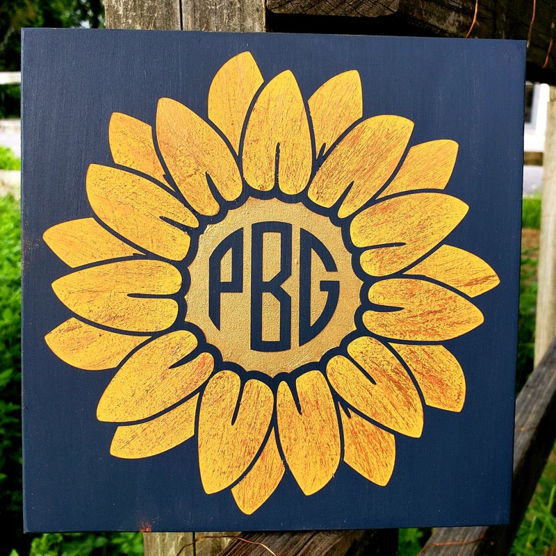 Sunflower Monogram: MINI DESIGN