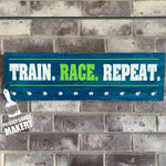 TRAIN. RACE. REPEAT.: Medal Holder - Paisley Grace Designs